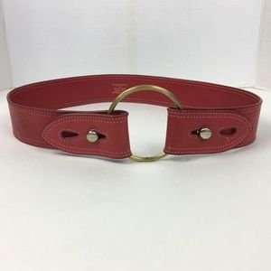 8958c4546 TED BAKER Belt Size 2 Red Gold Buckle.